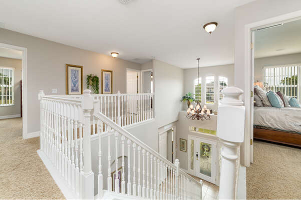Enjoy a spacious upstairs area with passage to each room