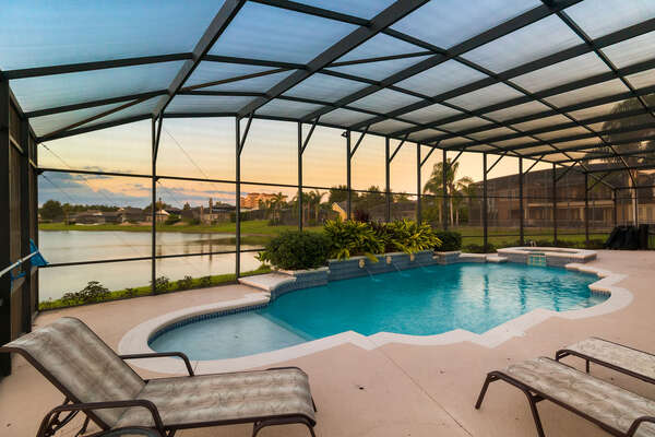 Enjoy beautiful views of the lake in the comfort of your private pool area