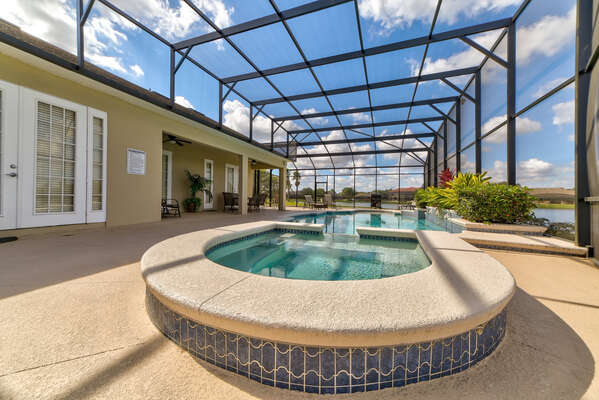 Screened in Pool and Hot Tub