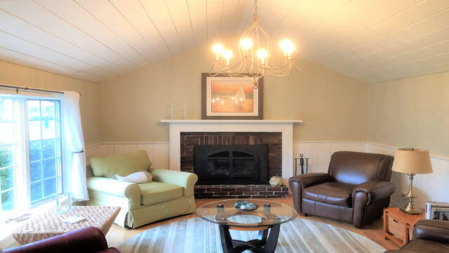 Living room with fireplace. Casual and comfortable! - 19 Burton Ave West Harwich Cape Cod - New England Vacation Rentals