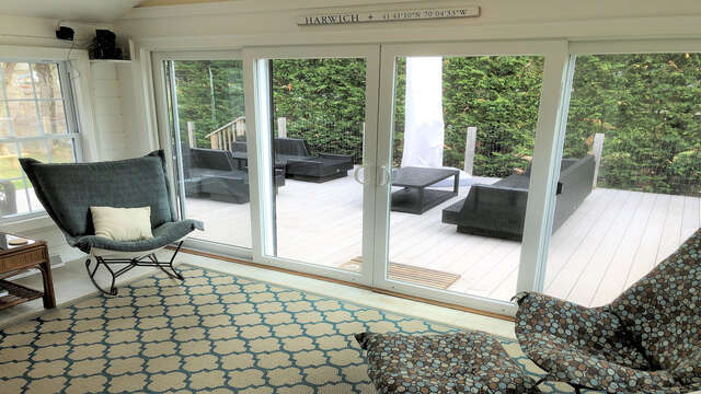 Sunroom with sliders to the deck - 19 Burton Ave West Harwich Cape Cod - New England Vacation Rentals