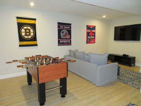 Lower level with flat screen TV And foosball gaming table for your enjoyment! - 1 Bayberry Lane Eastham Cape Cod - New England Vacation Rentals