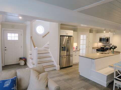 View of front door and steps to 2nd floor-  1 Bayberry Lane Eastham Cape Cod - New England Vacation Rentals