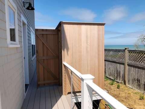 Enclosed out door shower with hot and cold water - A Cape Cod Tradition - Enjoy! - 1 Bayberry Lane Eastham Cape Cod - New England Vacation Rentals