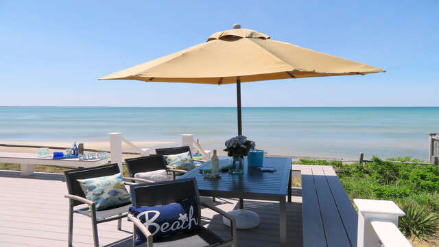 Welcome to Bay Dream! View from back deck at 1 Bayberry Lane Eastham Cape Cod - New England Vacation Rentals