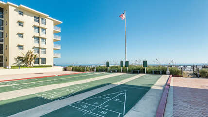Multiple shuffleboard courts on the property
