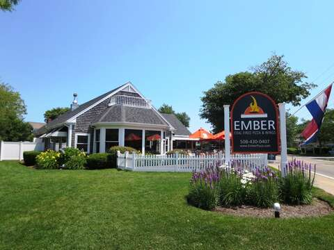 Ember Pizza. Check out their outdoor bar and fire pit! - Harwich Port Cape Cod - New England Vacation Rentals