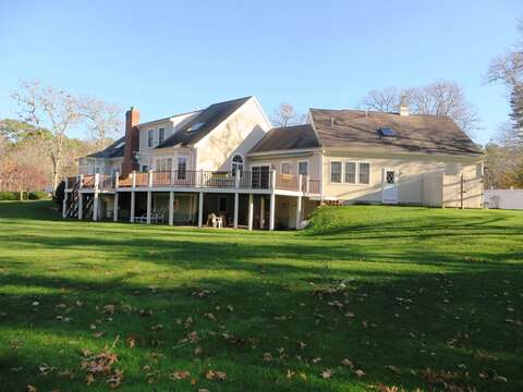 View of the green, grassy lawn for outdoor fun! - 2 Mashpa Road Harwich Cape Cod - New England Vacation Rentals