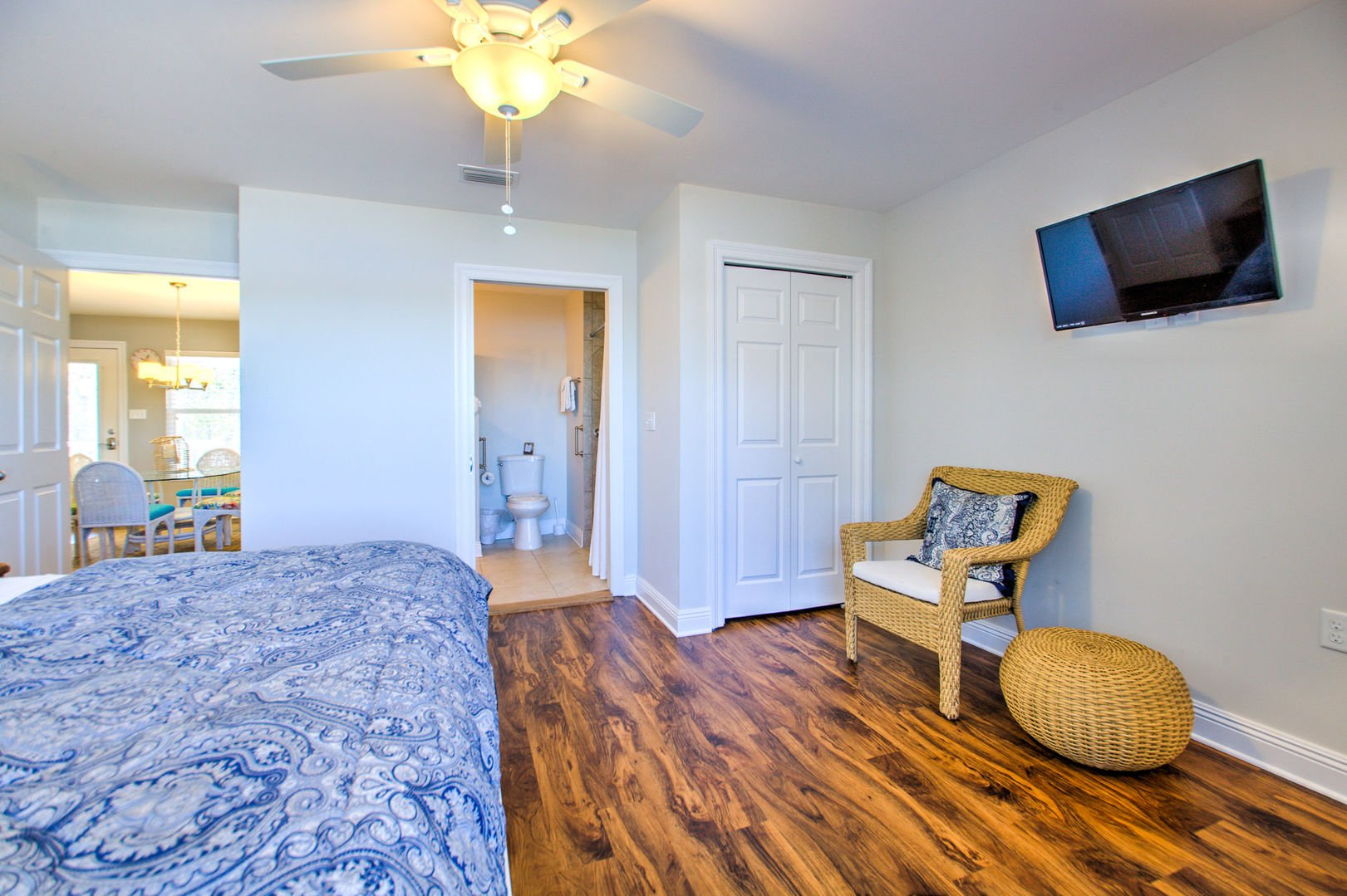 Vacation Home in Orange Beach Features a Bright Master Bedroom.