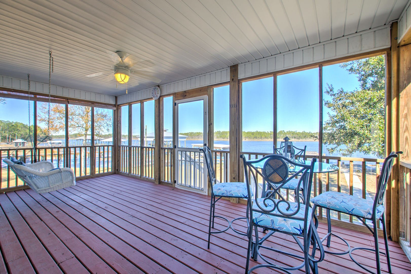 Spacious Back Porch Offers Beautiful Views.