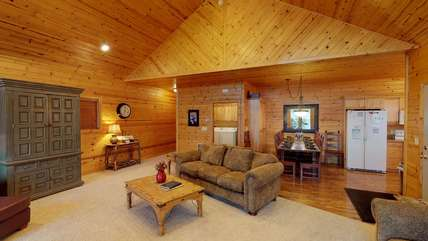 This cabin offers so much room for your family to gave a good time.
