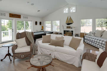 Second Floor Family Room w/TV, Pool Table, Games, Balcony & Half Bath