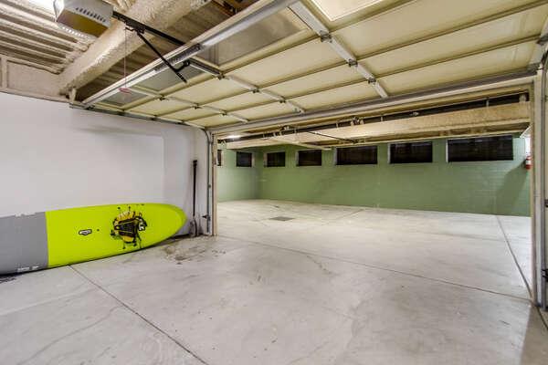 underground parking, private 2-car garage + beach items