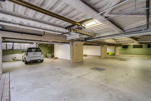underground parking, 2 car garage (left) + beach gear