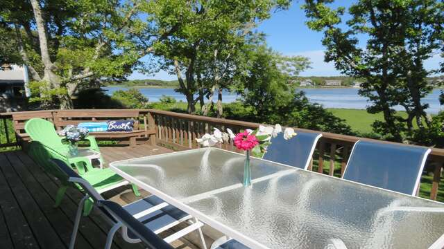 Enjoy the lovely views of Bucks Creek from the large back deck - 84 Cranberry Lane Chatham Cape Cod - New England Vacation Rentals