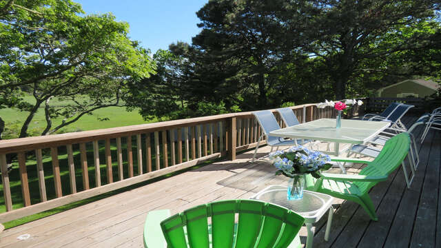 Seating for 8-10. Umbrella provided for shade and a gas grill - 84 Cranberry Lane Chatham Cape Cod - New England Vacation Rentals