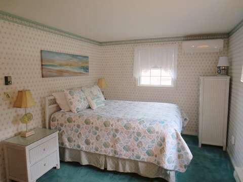 Bedroom #2 with a Queen bed and slimline AC unit - 84 Cranberry Lane Chatham Cape Cod - New England Vacation Rentals