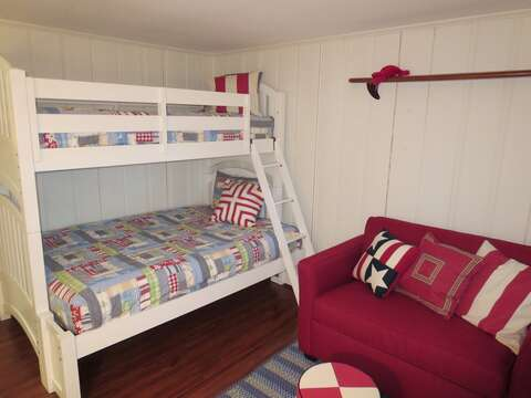 Lower level with a bunk bed (double bottom/single top) also a twin/single chair pullout - 84 Cranberry Lane Chatham Cape Cod - New England Vacation Rentals