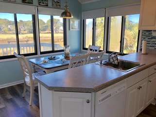 A beautiful view of the surrounding marsh from the kitchen.