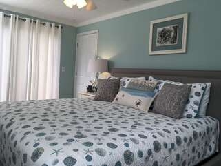 The Master Bedroom has a sliding glass door which leads to a private deck with picturesque views.