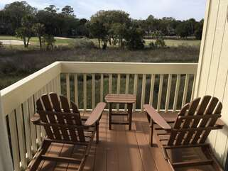 Enjoy morning coffee or a glass of wine with breathtaking views from the Master deck poly-wood furniture.
