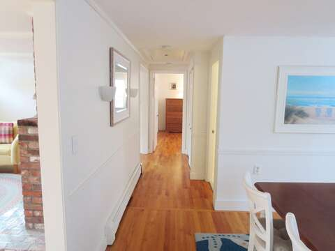 Hallway from kitchen to Bedrooms 2 & 3 as well as the full bath and laundry area - 142 George Ryder Road S Chatham Cape Cod - New England Vacation Rentals