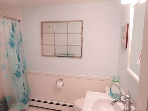 Full bath with tub and shower located off of the hall - 142 George Ryder Road S Chatham Cape Cod - New England Vacation Rentals