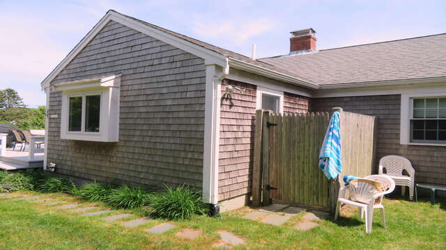 Enjoy the outdoor shower with hot and cold water - A Cape Cod tradition!  142 George Ryder Road S- Chatham Cape Cod - New England Vacation Rentals