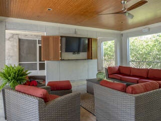 Large HDTV for complete this outdoor entertainment dream