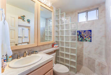 Updated bathroom with walk-in shower