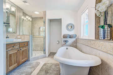 Master Bath with stand alone tub.