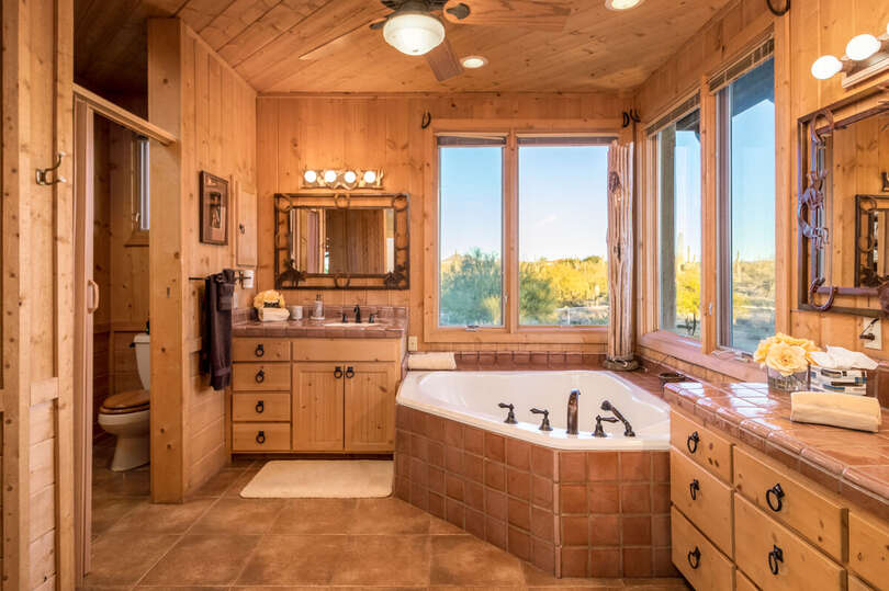 Bathroom with corner tub