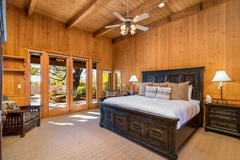 Master Bedroom with Views Towards Garden and Pool