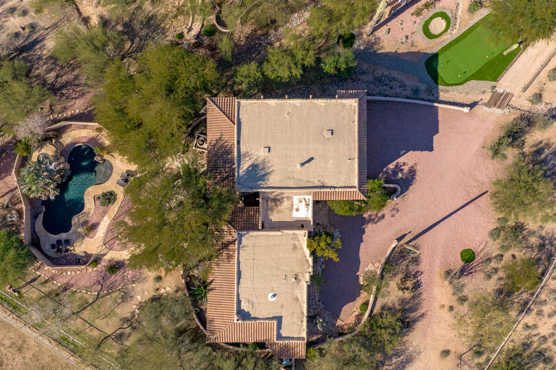Aerial View of Guest Casa with 3 Unique Casitas. The Cabin is the Entire Smaller Side.