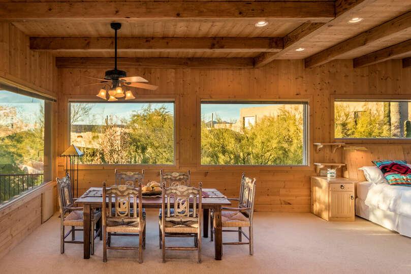 Dining area in loft.