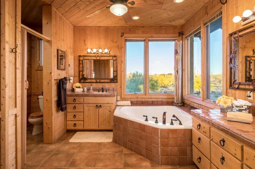 Loft bathroom with beautiful mountain view