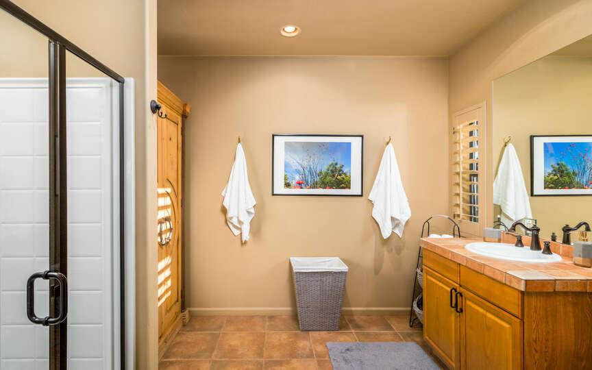 Garden casita bathroom with walk-in shower