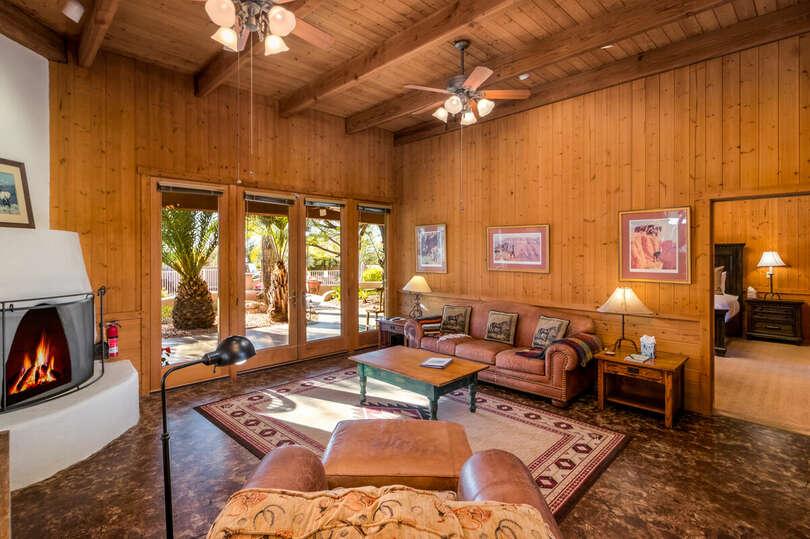 Cabin living area adobe fireplace