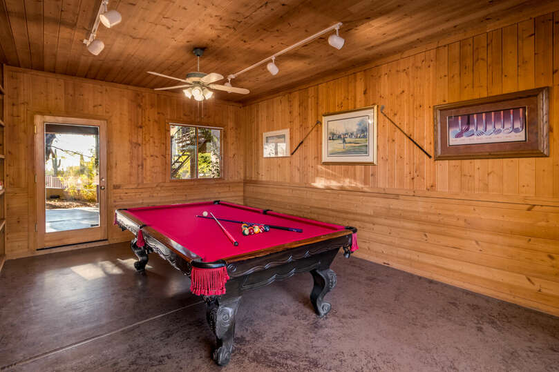 Game room situated conveniently between the three casitas
