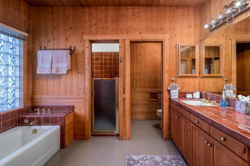 Cabin bathroom with walk in shower and bathtub