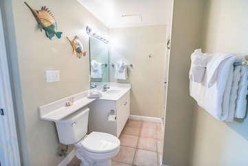 Bathroom adjacent to Queen bedroom