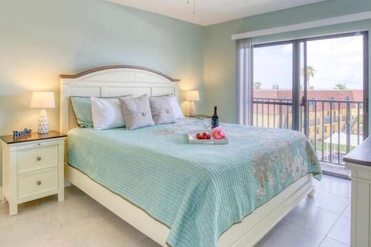 Master bedroom with a new king bed & mattress