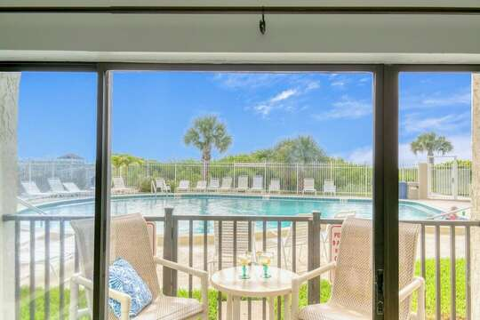 Walk right out your patio doors to the pool and beach!  Note: The patio enclosure was removed during the recent balcony restoration project. The patio is no longer gated.