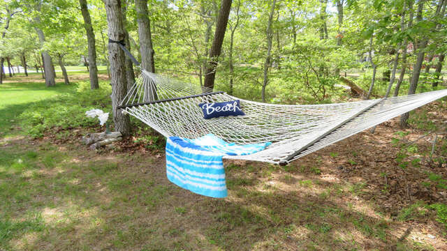 Relax on the hammock under the shade of the pines- 33 Pine Grove West Harwich Cape Cod -  New England Vacation Rentals