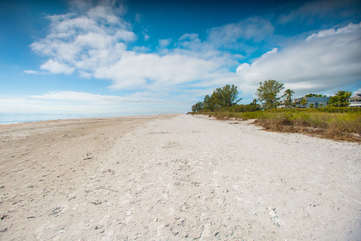 Unobstructed views of the sand and sea, this is a special part of the island where one can find treasured shells.