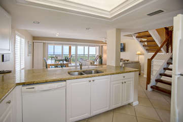 The kitchen with views of the Gulf!