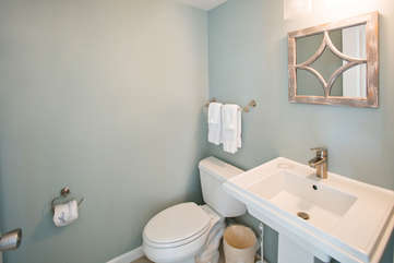 The coastal chic powder room, great for entertaining.