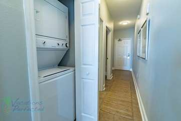Hallway with stackable washer & dryer