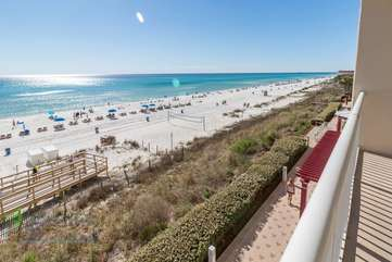 View of the Gulf Coast from the balcony with plenty of seating to enjoy this breathtaking view