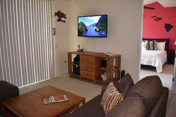 Living Area with Flat-Screen TV and Master Bedroom Access